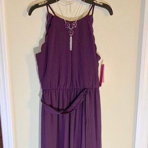 Deep plum chiffon special occasion dress